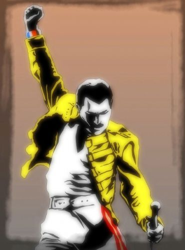 Queen - Freddie Mercury - Yellow jacket paint style / canvas print - self adhesive poster - photo